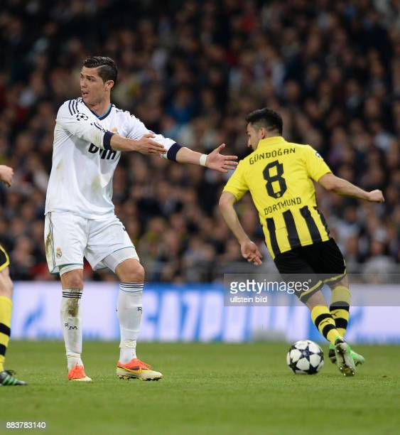 FUSSBALL CHAMPIONS Real Madrid Borussia Dortmund Cristiano Ronaldo meckert Ilkay Guendogan spielt