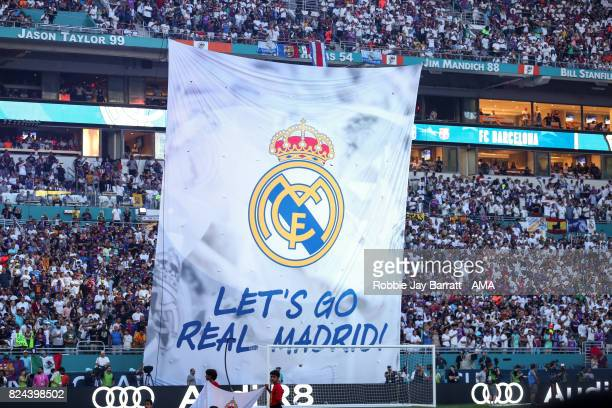 Real Madrid branding during the International Champions Cup 2017 match between Real Madrid and FC Barcelona at Hard Rock Stadium on July 29 2017 in...