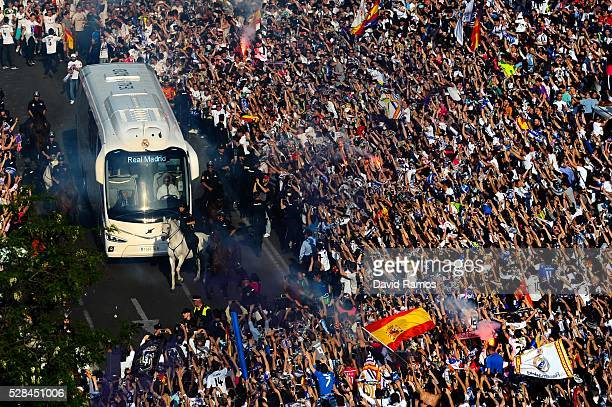 Real Madrid bus arrives at the stadium prior to kickoff during the UEFA Champions League Semi Final second leg match between Real Madrid and...