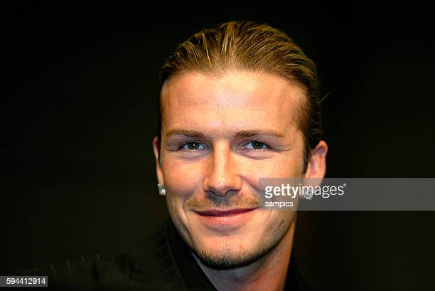 Real Madrid Captain David Beckham is all smiles at the Adidas headquarters for an unveiling of a new logo inspired by the British soccer player's...