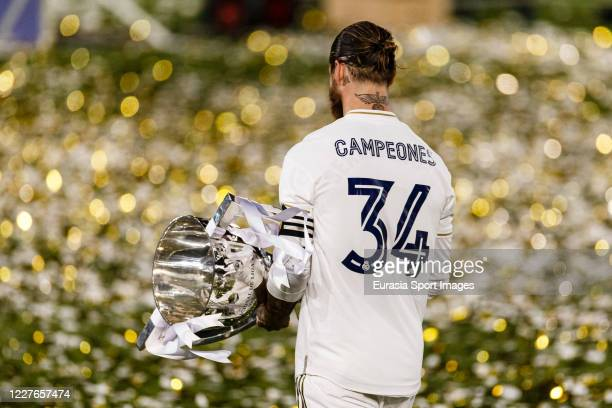 Real Madrid Captain Sergio Ramos celebrates with La Liga Champions Trophy during La Liga match between Real Madrid CF and Villarreal CF at Estadio...