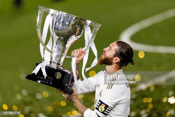 Real Madrid Captain Sergio Ramos lifts La Liga Champions Trophy during La Liga match between Real Madrid CF and Villarreal CF at Estadio Alfredo Di...