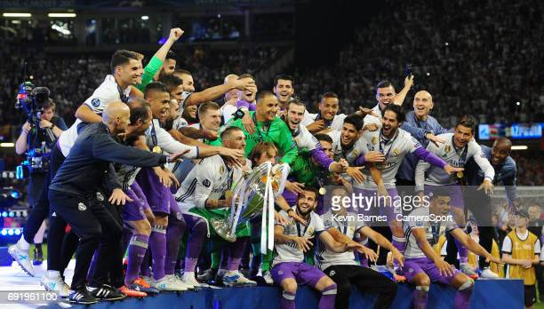 Real Madrid celebrate winning the 2017 UEFA Champions League during the UEFA Champions League Final match between Juventus and Real Madrid at...