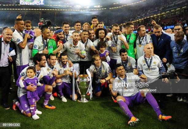 Real Madrid celebrate winning the 2017 UEFA Champions League during the UEFA Champions League Final match between Juventus and Real Madrid at...