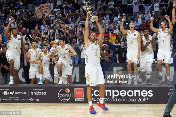 Real Madrid celebrating the victory of Finals of SuperCopa Endesa on September 22, 2019 in Madrid, Spain.