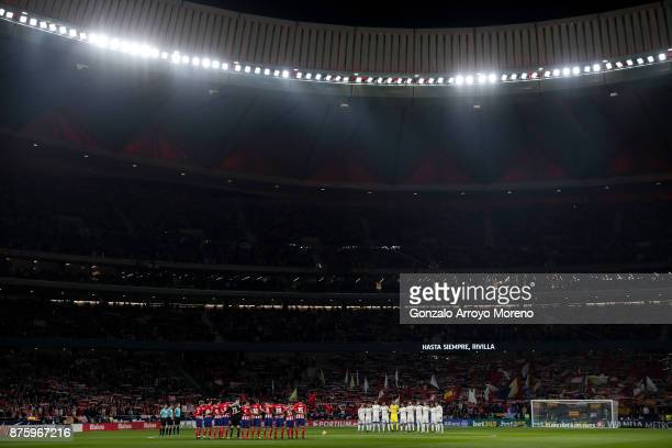 Real Madrid CF and Atletico de Madrid palyers observe one minute of silence in memory of passed away Spanish AttoneryGeneral Jose Manuel Maza prior...