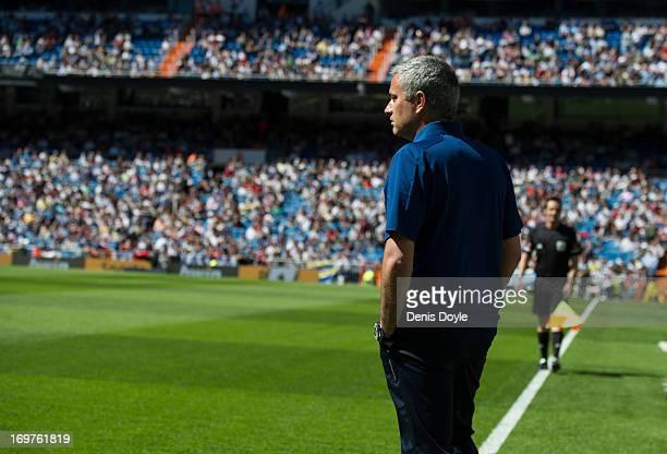 Real Madrid CF head coach Jose Mourinho looks on during the La Liga match between Real Madrid CF and CA Osasuna at estadio Santiago Bernabeu on June...