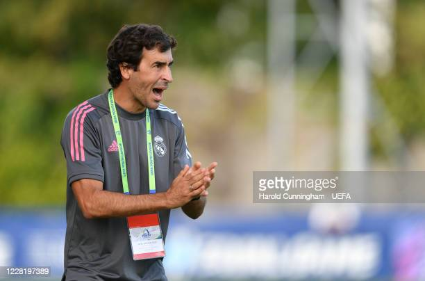 Real Madrid CF head coach Raúl González Blanco during the UEFA Youth League Final 2019/20 between SL Benfica and Real Madrid CF at Colovray Sports...