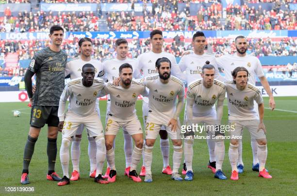 Real Madrid CF line up for a team photo prior to the Liga match between CA Osasuna and Real Madrid CF at El Sadar Stadium on February 09, 2020 in...