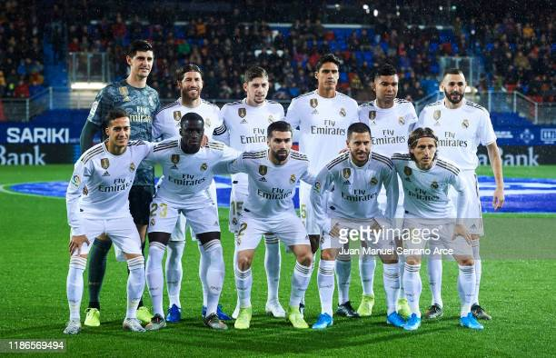 Real Madrid CF line up for a team photo prior to the Liga match between SD Eibar SAD and Real Madrid CF at Ipurua Municipal Stadium on November 09...