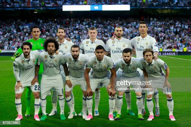 Real madrid CF line up prior to start the UEFA Champions League Quarter Final second leg match between Real Madrid CF and FC Bayern Muenchen at...