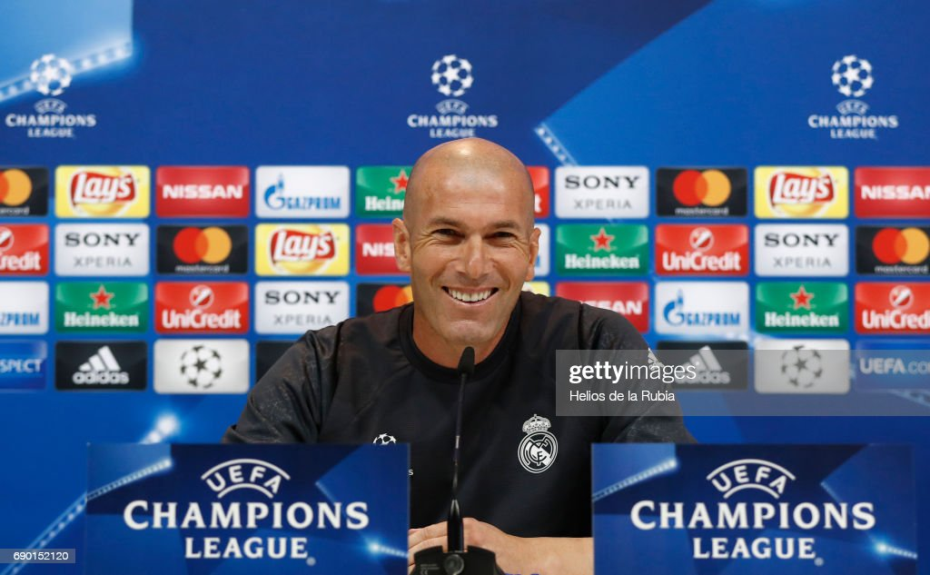 Real Madrid CF manager Zinedine Zidane holds his press conference during the Real Madrid UEFA Open Media Day at Valdebebas training ground on May 30, 2017 in Madrid, Spain.