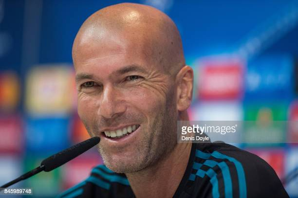 Real Madrid CF manager Zinedine Zidane smiles during the Real Madrid CF training session at Valdebebas training ground on September 12 2017 in Madrid...