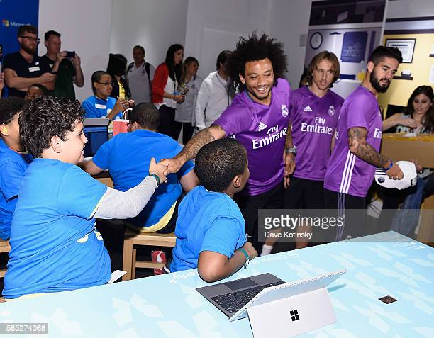 Real Madrid CF player Marcelo Vieira da Silva Junior and teammates surprise Minecraft Hour of Code workshop participants at the Microsoft Store on...
