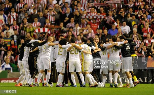 Real Madrid CF players celebrate after beating Athletic Club 30 to win the La Liga Championships during the La Liga match between Athletic Club and...