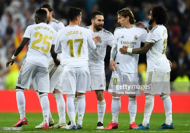 Real Madrid CF players celebrate at the end of the Liga match between Real Madrid CF and FC Barcelona at Estadio Santiago Bernabeu on March 01, 2020...
