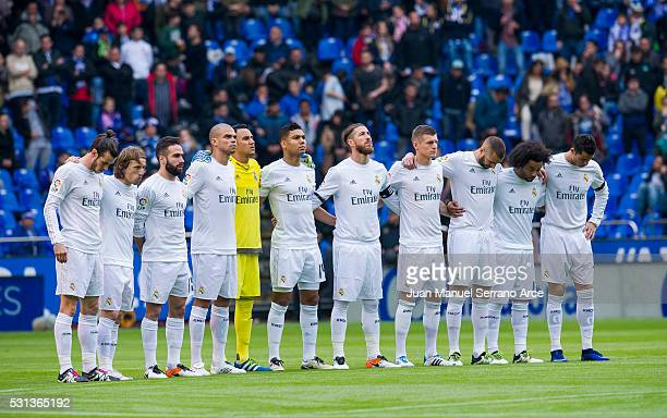 Real Madrid CF players hold a minute of silence for the victims of the Iraq attack during the La Liga match between RC Deportivo La Coruna and Real...