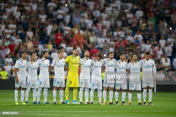 Real Madrid CF players hold a minute of silence in memory of the recent victims of the Barcelona terrorist attack before the Santiago Bernabeu Trophy...