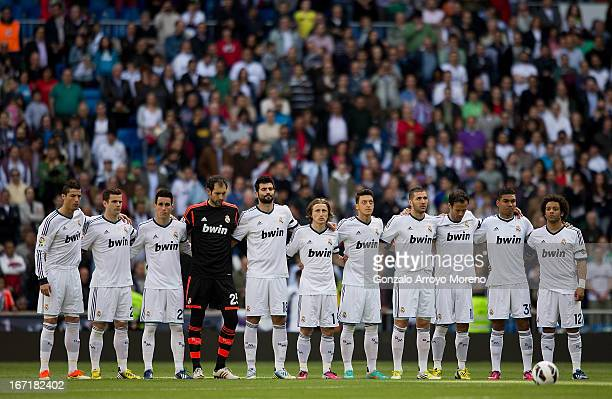Real Madrid CF players observe a minute of silence to pay tribute to the victims of the Boston Marathon bombings prior to the start the La Liga match...