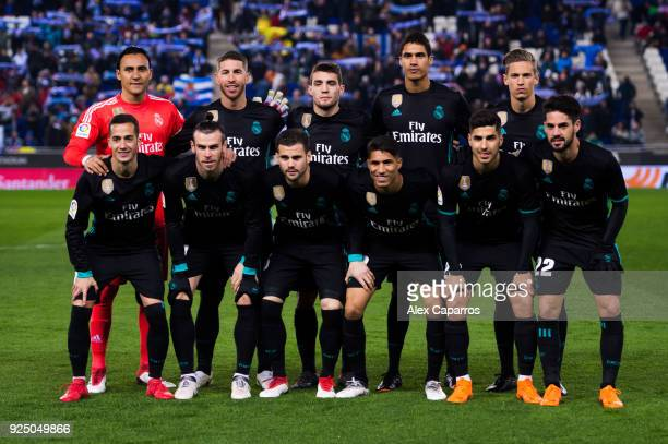 Real Madrid CF players pose for a team photo before the La Liga match between Espanyol and Real Madrid at RCDE Stadium on February 27 2018 in...