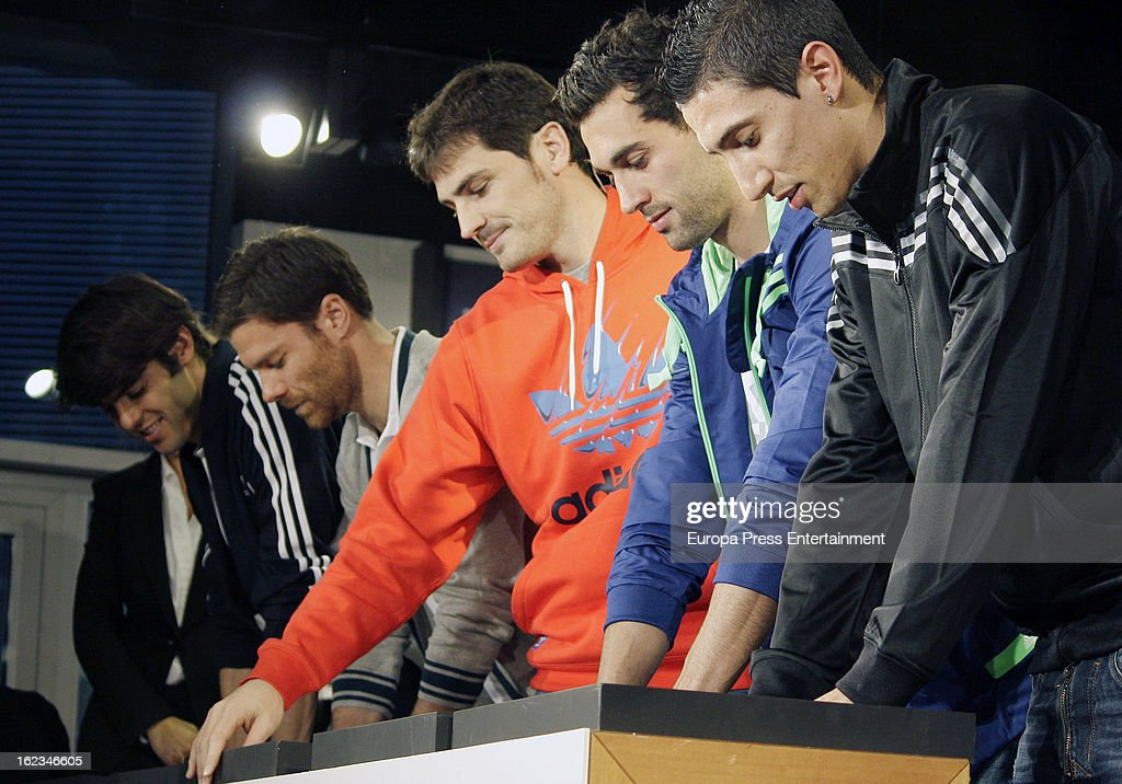 Real Madrid CF players Ricardo Kaka, Xabi Alonso, Iker Casillas, Alvaro Arbeloa and Angel Di Maria attend the opening of the new 'Adidas' store at the Santiago Bernabeu stadium on February 21, 2013 in Madrid, Spain.