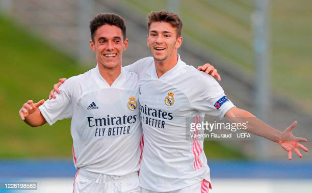 Real Madrid CF players Sergio Arribas and Jordi celebrate after Henrique Jocu of SL Benfica scored an own goal during the UEFA Youth League Final...