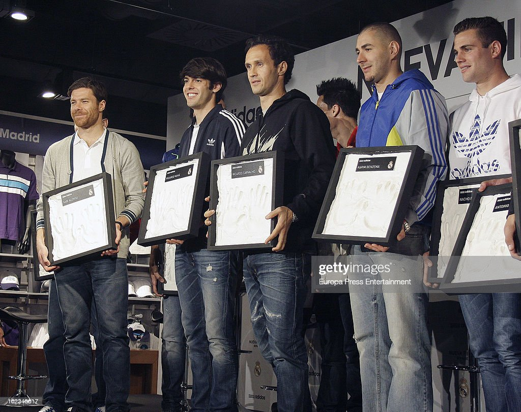 Real Madrid CF players Xabi Alonso, Kaka, Ricardo Carvalho, Karim Benzema and Nacho Fernandez attend the opening of the new 'Adidas' store at the Santiago Bernabeu stadium on February 21, 2013 in Madrid, Spain.