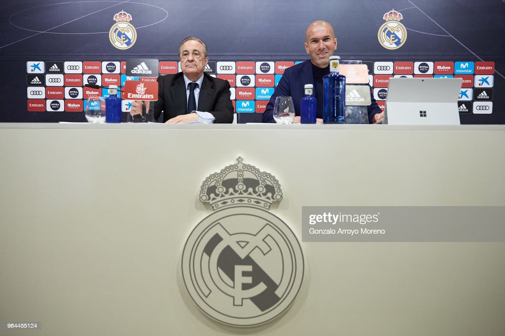 Real Madrid CF president Florentino Perez (L) and Zinedine Zidane (R) attend press conference to announce his resignation as Real Madrid manager at Valdebebas Sport City on May 31, 2018 in Madrid, Spain. Zidane steps down from the position of Manager of Real Madrid, after leading the club to it's third consecutive UEFA Champions League title.
