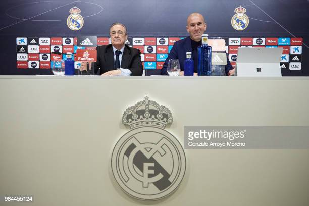 Real Madrid CF president Florentino Perez and Zinedine Zidane attend press conference to announce his resignation as Real Madrid manager at...