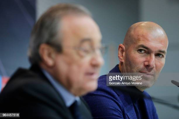 Real Madrid CF president Florentino Perez and Zinedine Zidane attend a press conference to announce his resignation as Real Madrid manager at...