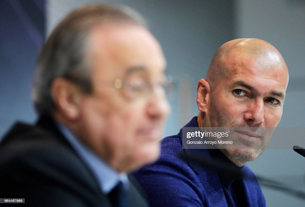 Real Madrid CF president Florentino Perez (L) and Zinedine Zidane (R) attend a press conference to announce his resignation as Real Madrid coach at Valdebebas Sport City on May 31, 2018 in Madrid, Spain. Zidane steps down from the position of Manager of Real Madrid, after leading the club to it's third consecutive UEFA Champions League title.