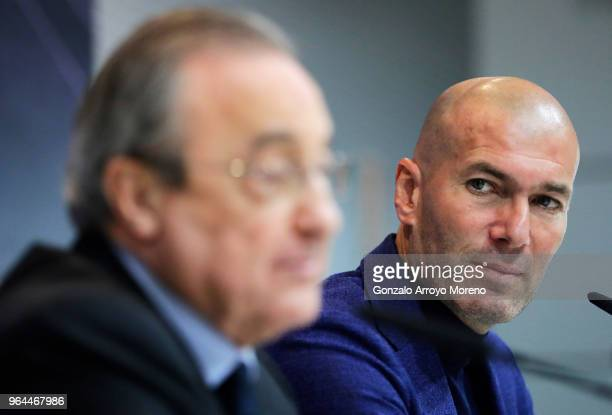 Real Madrid CF president Florentino Perez and Zinedine Zidane attend a press conference to announce his resignation as Real Madrid coach at...