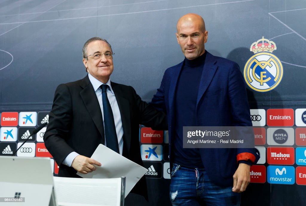 Real Madrid CF president Florentino Perez (L) and Zinedine Zidane (R) attend a press conference to announce his resignation as Real Madrid manager at Valdebebas Sport City on May 31, 2018 in Madrid, Spain. Zidane steps down from the position of Manager of Real Madrid, after leading the club to it's third consecutive UEFA Champions League title.