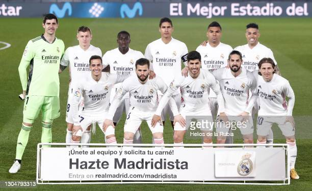 Real Madrid CF squad during the La Liga Santander match between Real Madrid and Real Sociedad at Estadio Santiago Bernabeu on March 01, 2021 in...