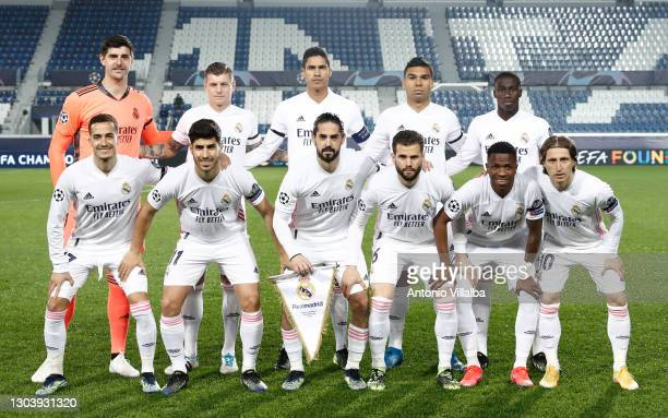 Real Madrid CF squad during the UEFA Champions League Round of 16 match between Atalanta and Real Madrid at Gewiss Stadium on February 24, 2021 in...