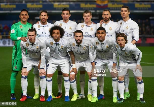 Real Madrid CF team line up during the La Liga match between Villarreal CF and Real Madrid at Estadio de la Ceramica on February 26 2017 in...