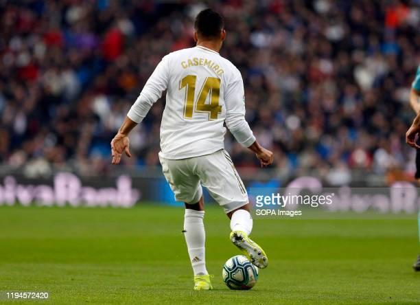Real Madrid CF's Carlos H. Casemiro seen in action during the Spanish La Liga match round 20 between Real Madrid and Granada CF at Santiago Bernabeu...
