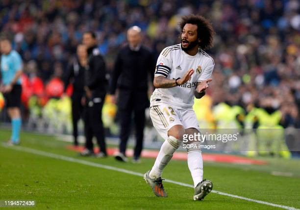 Real Madrid CF's Marcelo Vieira seen in action during the Spanish La Liga match round 20 between Real Madrid and Granada CF at Santiago Bernabeu...
