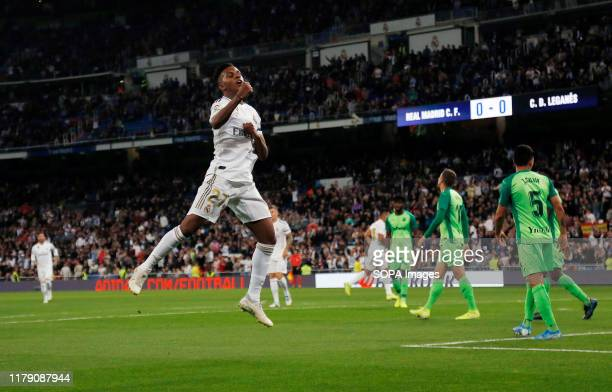 Real Madrid CF's Rodrygo Goes celebrates after scoring a goal during the Spanish La Liga match round 11 between Real Madrid and CD Leganes at...