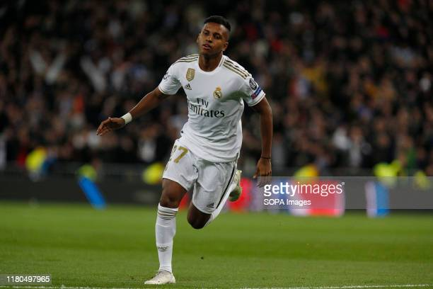 Real Madrid CF's Rodrygo Goes celebrates after scoring a goal during the UEFA Champions League match between Real Madrid and Galatasaray SK at the...