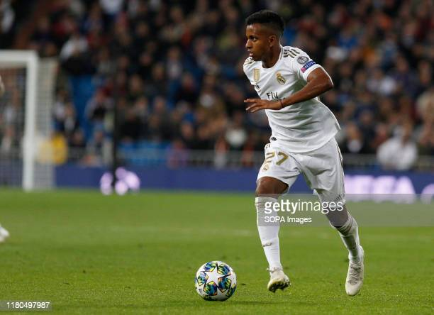 Real Madrid CF's Rodrygo Goes in action during the UEFA Champions League match between Real Madrid and Galatasaray SK at the Santiago Bernabeu in...