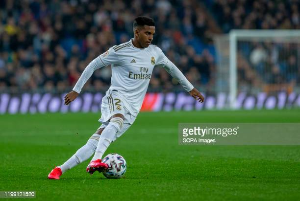 Real Madrid CF's Rodrygo Goes seen in action during the Spanish quarterfinal Copa del Rey match between Real Madrid and Real Sociedad at Santiago...