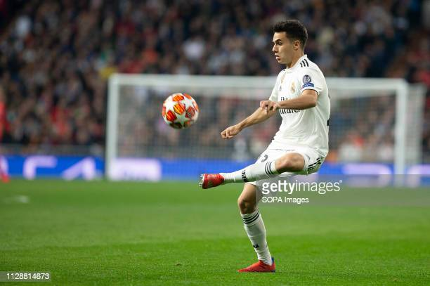 Real Madrid CF's Sergio Reguilon during UEFA Champions League match, Round of 16, 2nd leg between Real Madrid and AFC Ajax at Santiago Bernabeu...