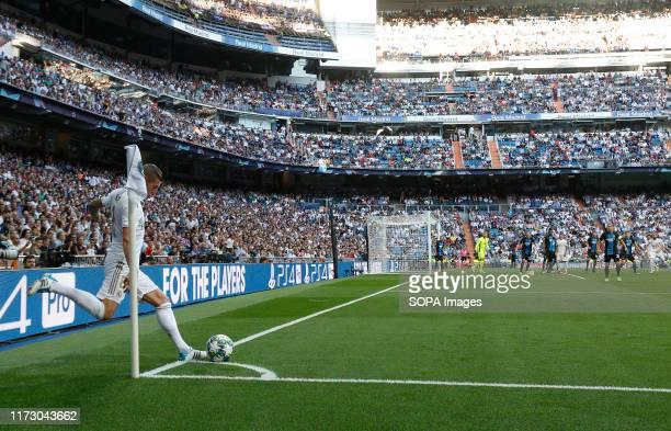 Real Madrid CF's Toni Kroos takes a corner kick during the UEFA Champions League match between Real Madrid and Club Brugge at Santiago Bernabeu...