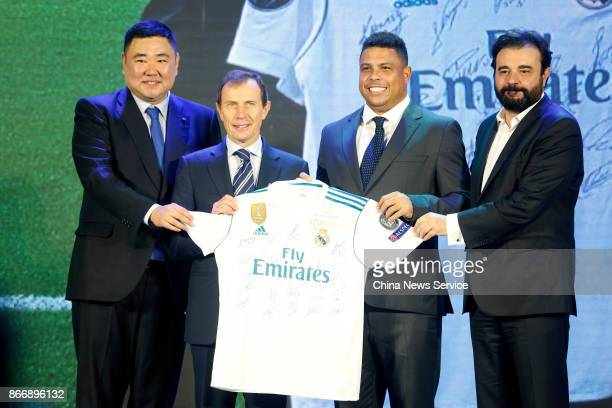 Real Madrid China office director Wu Youwen Institutional Relations Director Emilio Butragueno Brazil's former player Ronaldo Luis Nazario de Lima...