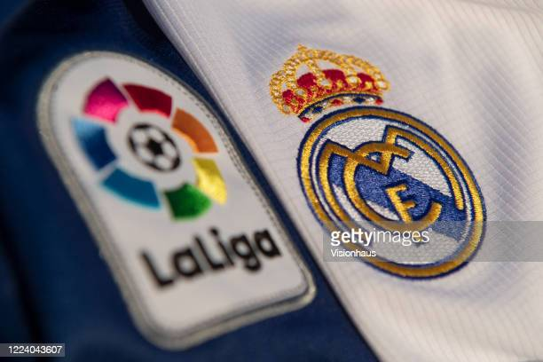 Real Madrid club badge and La Liga logo and branding on the Real Madrid home shirt for the 201920 season on May 6 2020 in Warwickshire UK