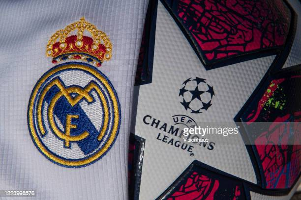 Real Madrid club crest on the home shirt for the 201920 season next to UEFA Champions League logo and branding on the adidas Istanbul '20 replica...
