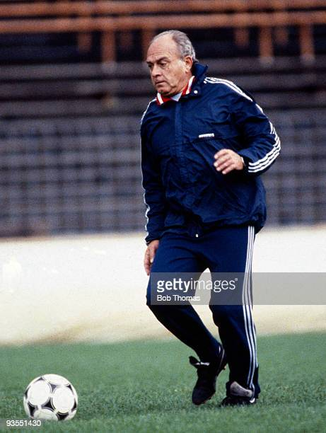 Real Madrid coach Alfredo di Stefano on 10th May 1983 This was the day before the European Cup Winners Cup Final between Aberdeen and Real Madrid...