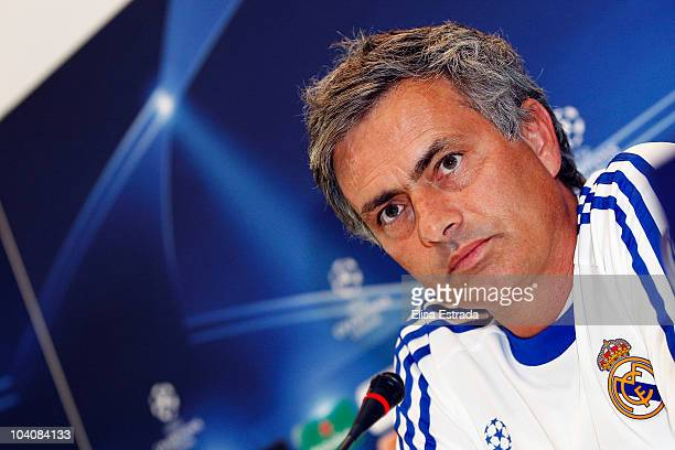 Real Madrid coach Jose Mourinho gives a press conference before a training session at Valdebebas on September 14 2010 in Madrid Spain