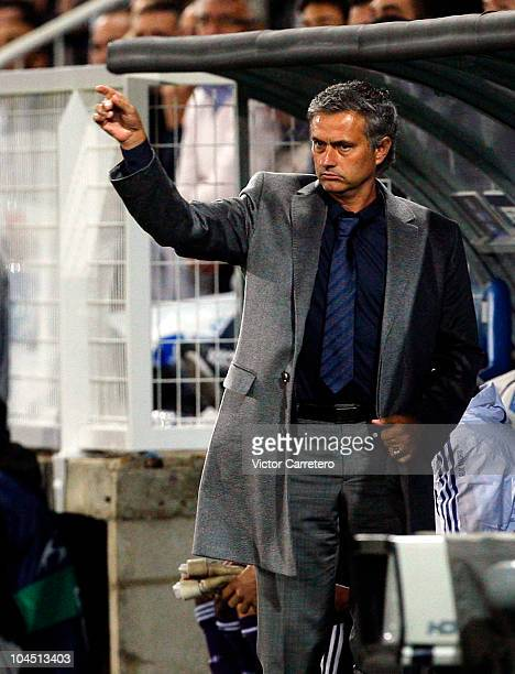 Real Madrid coach Jose Mourinho gives instructions during the UEFA Champions League group G match between Auxerre and Real Madrid at AbbeDeschamps...
